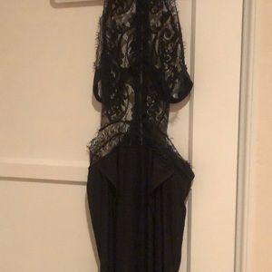 Black dress white high slits on each side